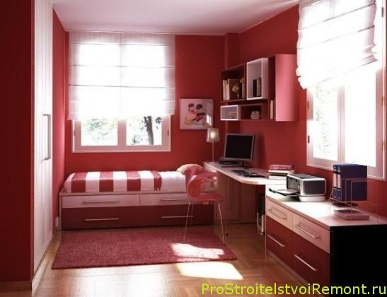 Дизайн интерьера детской комнаты красного цвета фото