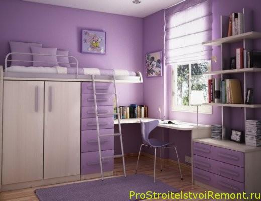 Дизайн интерьера фиолетовой детской комнаты фото