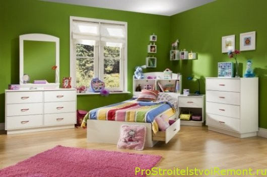 Дизайн интерьера зеленой детской комнаты фото