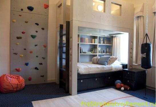 Дизайн интерьера детской комнаты для мальчика фото со скалолазной стенкой
