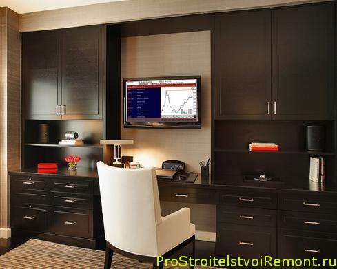 интерьер домашнего офиса, стенка, шкаф фото