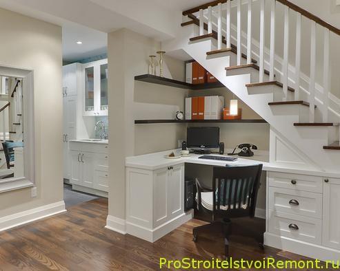Домашний офис под лестницей фото
