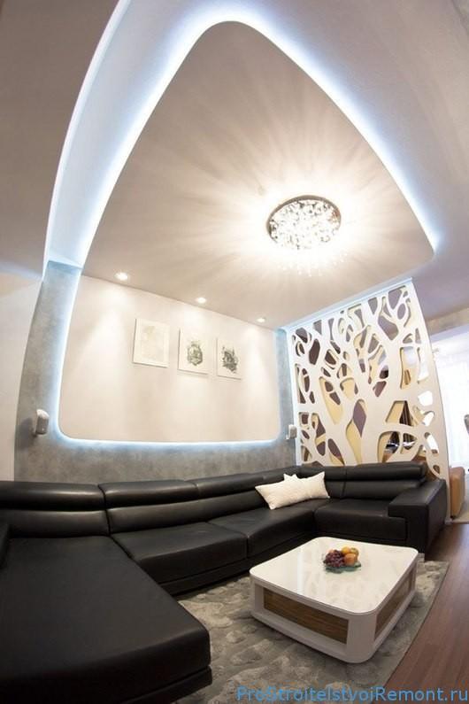 Современный дизайн подвесного потолка из гипсокартона фото