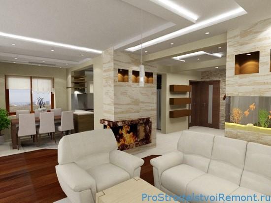 Создание потолочной конструкции в интерьере гостиной