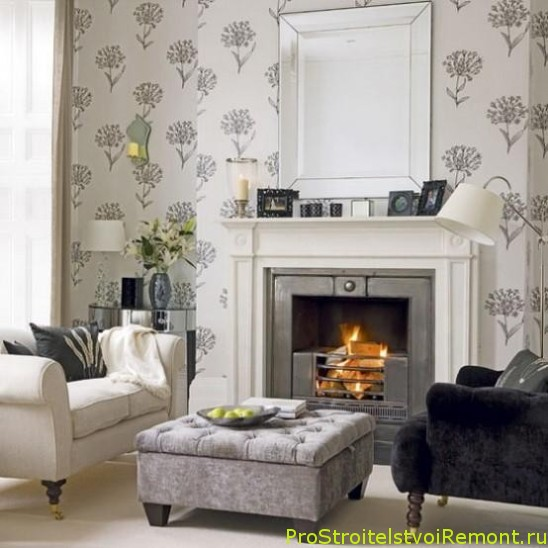 Черно-белый дизайн гостиной с камином фото