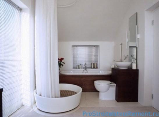 Дизайн ванной комнаты с круглой душевой кабиной фото