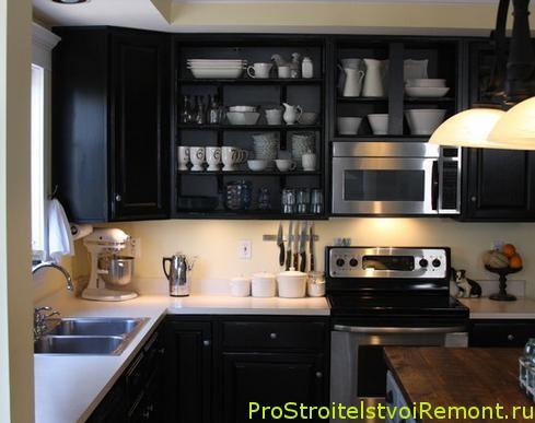Дизайн кухни со встроенной микроволновой печью и газовой плитой фото