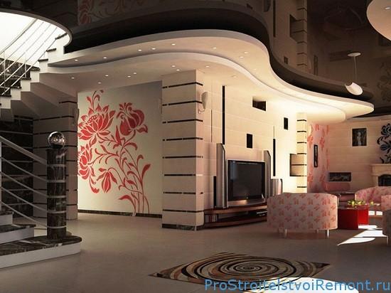 Натяжной потолок с гипоскартоном в гостиной фото