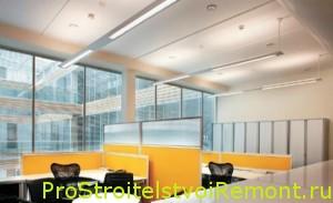 Дизайн интерьера потолка в офисе со светодиодным освещением фото