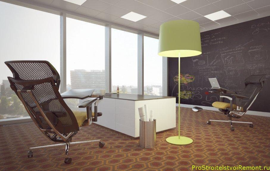 Дизайн интерьера и потолка в офисе со светодиодным освещением фото