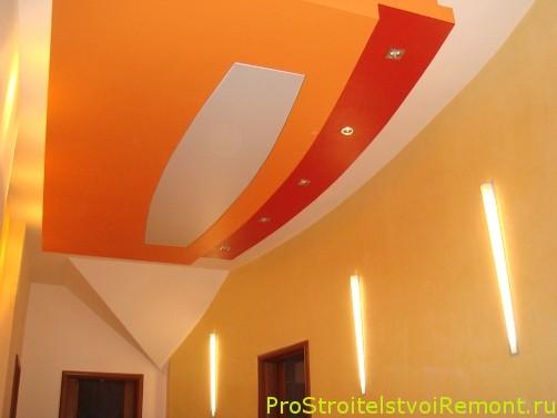 Создать дизайн подвесного потолка из гипсокартона с освещением фото своими руками самому