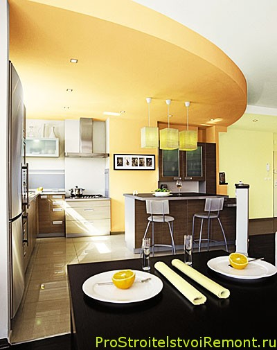Ремонт потолка кухне своими руками