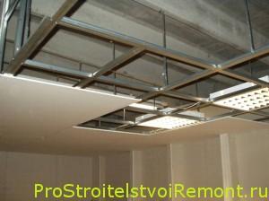Потолок из гипсокартона фото кухня своими руками