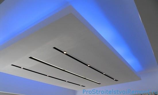 Неоновая подсветка фото в подвесном потолке