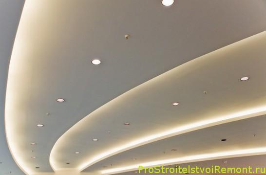Светодиодные ленты, полосы и трубки в дизайне подвесного потолка фото