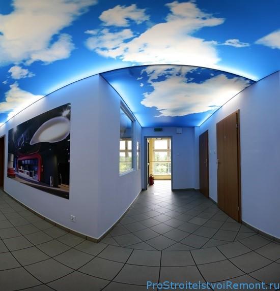 Дизайн подвесного потолке в виде неба фото