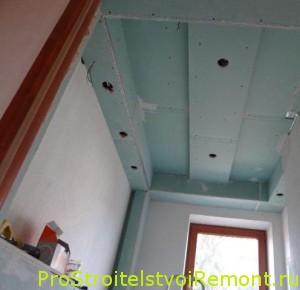 Монтаж подвесного потолка из влагостойкого гипсокартона в ванной комнате фото