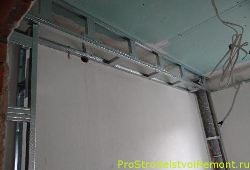 Подвесной потолок из гипсокартона в ванной комнате фото