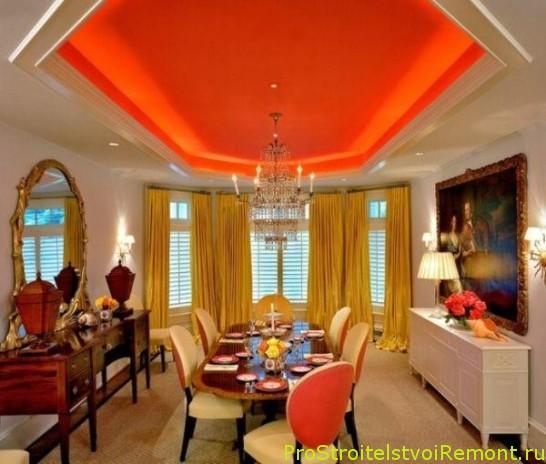 Дизайн яркого подвесного потолка в столовой и в гостиной фото