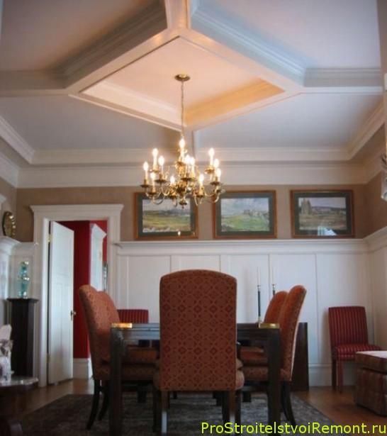 Дизайн красивого подвесного потолка в столовой и в гостиной фото