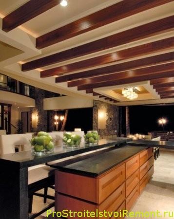 Дизайн подвесного потолка на кухне в современном и деревенском стиле фото