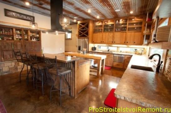 Дизайн подвесного потолка на кухне в промышленном стиле фото