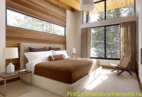 Современный дизайн спальни в бежевых и коричневых тонах фото