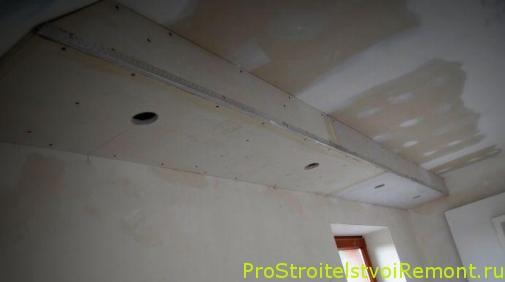 Дизайн подвесного потолка из гипсокартона своими руками фото