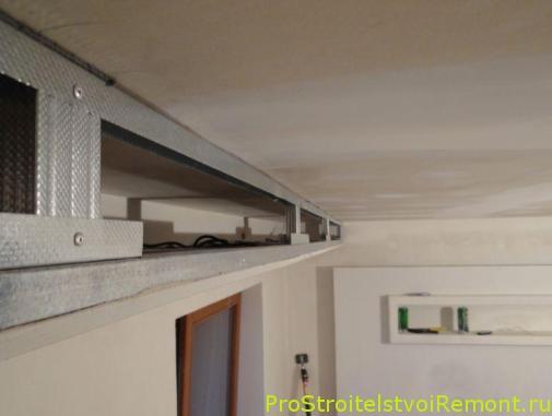 Дизайн подвесного потолка из гипсокартона с гирляндой в спальне фото