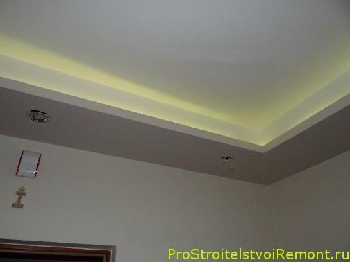 Светодиодное освещение подвесного потолка из гипсокартона фото