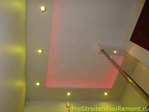 Светодиодное освещение подвесного потолка из гипсокартона фото. Дизайн подвесного потолка фото