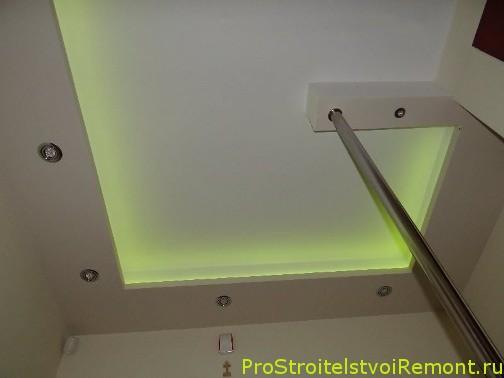 Установка светодиодного освещения в подвесном потолке из гипсокартона фото