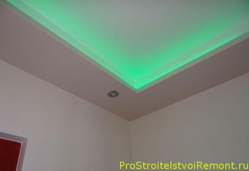 Дизайн подвесного потолка со светодиодным освещением фото