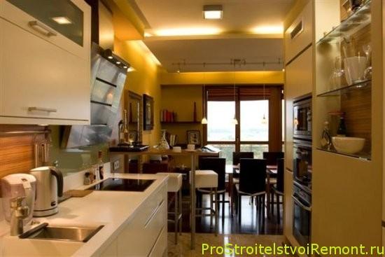 Дизайн освещения на кухне совмещенной с гостиной фото