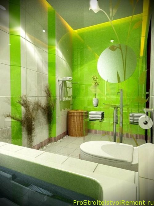 Дизайн ванной комнаты в природном зеленом цвете фото