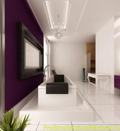 Стильный дизайн ванной комнаты со встроенной ванной фото