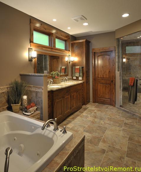 Дизайн большой ванной комнаты с зеркалом фото