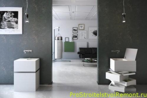 Стильная и современая ванная комната с душевой кабиной фото