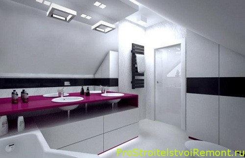 Современный дизайн ванной комнаты на чердаке