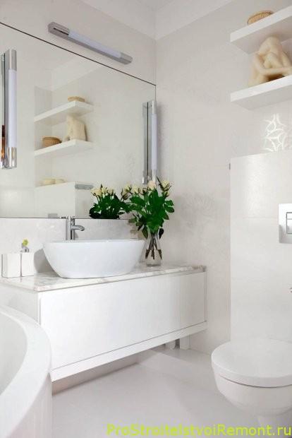 Дизайн маленькой ванной комнаты фото белая ванная комната