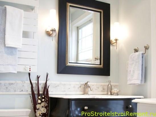 Дизайн маленькой ванной комнаты с зеркалом